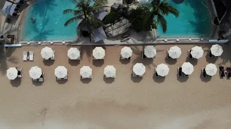 тропики : Sun beds on beach. Aerial view of many paired sun loungers with umbrella on deserted beach with clean sand Стоковые видеозаписи