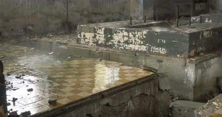 deteriorated : 4k Abandoned factory ruins in raining day , leaking water
