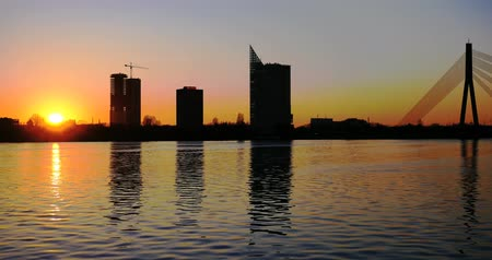 panorâmico : Sunset timelapse in Riga Stock Footage