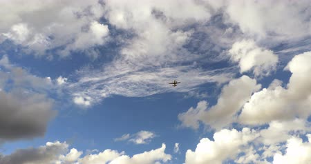 folga : Airplane taking off , blue sky, white clouds 4k Stock Footage