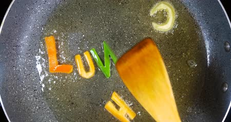 диета : Stir-frying mixed alphabet letters, word Lunch
