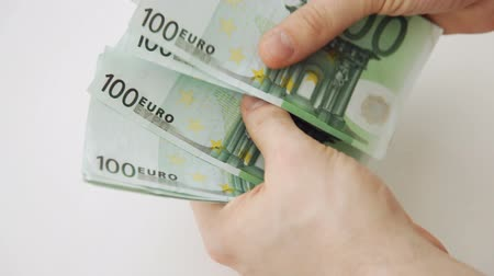 euro : male hands counting 100 euro money notes Stok Video
