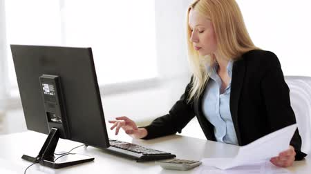 boss : attractive business woman working with computer in office