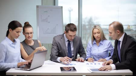 projects : office and teamwork concept - group of business people having a meeting Stock Footage