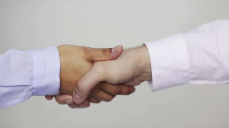 партнеры : business and office concept - businessman and businesswoman shaking hands in office
