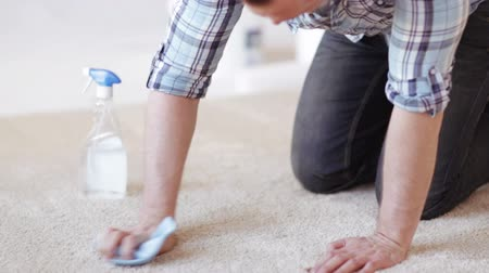remover : cleaning and home concept - close up of male cleaning stain on carpet with cloth