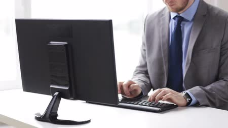 kablosuz teknoloji : people, business, technology and office work concept - close up of businessman hands typing on computer keyboard