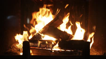 mekan : heating, warmth, fire and cosiness concept - close up of firewood burning in fireplace Stok Video