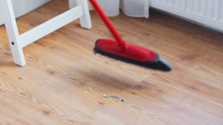 swabber : people, housework and housekeeping concept - woman with broom cleaning floor at home Stock Footage