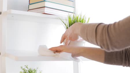 temizleme maddesi : people, housework and housekeeping concept - woman with duster cleaning shelf from dust at home Stok Video