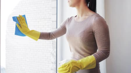 pokojowka : people, housework and housekeeping concept - woman in gloves cleaning window glass with rag and cleanser spray at home Wideo