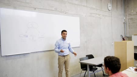 лекция : students and teacher at white board on lecture Стоковые видеозаписи