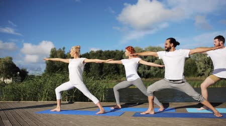 eğitici : group of people making yoga exercises outdoors Stok Video