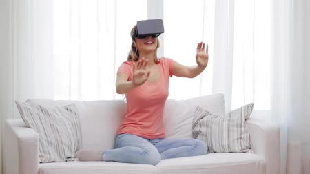 realidade : woman in virtual reality headset or 3d glasses