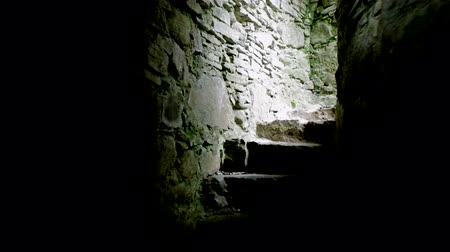 catacomb : stairs of old medieval subterranean or basement