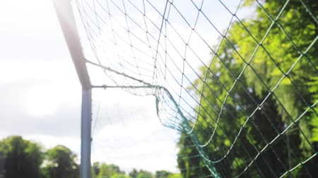 jogador de futebol : ball flying into football goal net on field