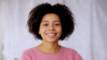 african decent : happy smiling african american young woman face