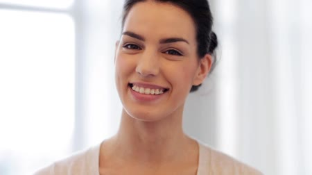 braces : happy smiling young woman with braces Stock Footage
