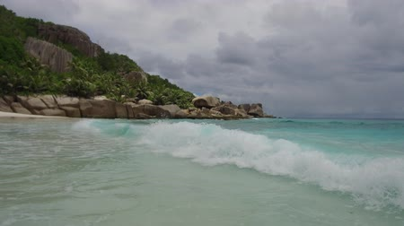 natural tranquil : island beach in indian ocean on seychelles Stock Footage