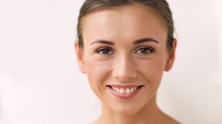 jovem : face of happy smiling young woman Stock Footage