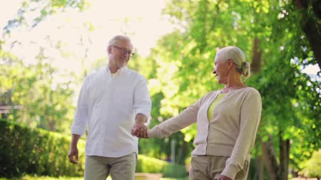 stare miasto : happy senior couple walking at summer city park