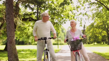 kolo : happy senior couple riding bicycles at summer park
