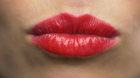 ruj : woman lips with red lipstick making kiss Stok Video
