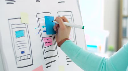 flip chart : woman working on user interface design at office Stock Footage