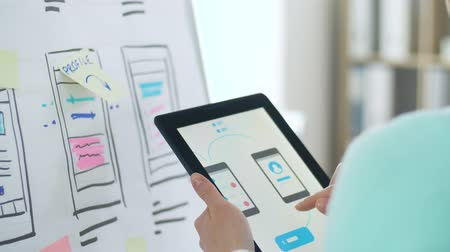 flip chart : woman working on tablet pc interface design