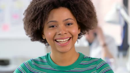 african decent : portrait of happy african american woman at office