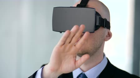 invisible : businessman with virtual reality headset at office Stock Footage