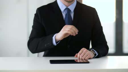 invisible : businessman working with tablet pc