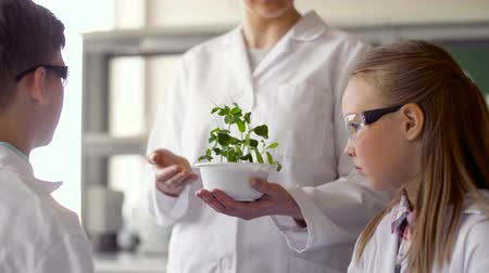 ifjabb : students and teacher with plant at biology class Stock mozgókép