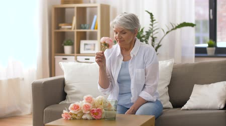 piwonia : happy senior woman putting flowers to vase at home