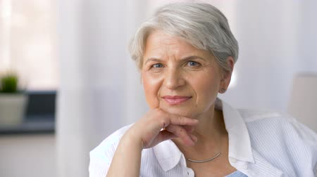 senior lifestyle : portrait of happy senior woman Stock Footage