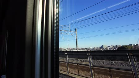 кабель : city view from window of moving train or railway Стоковые видеозаписи
