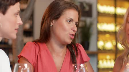 аперитив : women with smartphone at wine bar or restaurant Стоковые видеозаписи