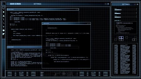 основной : virtual screen with computer coding over black