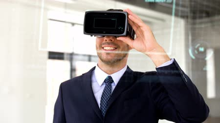 numerical code : businessman with vr headset, score and coding Stock Footage