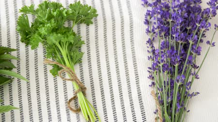 linen : greens, spices or medicinal herbs on table
