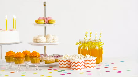 juice jar : food and drinks on table at birthday party
