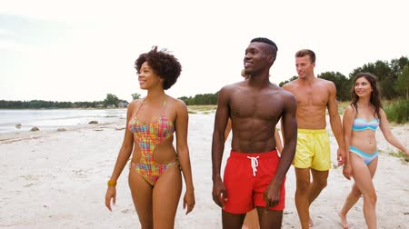 afro americana : mixed walking along beach with friends