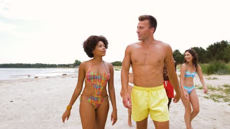 people talking : mixed race couple walking along beach with friends