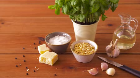 ocet : ingredients for basil pesto sauce on wooden table