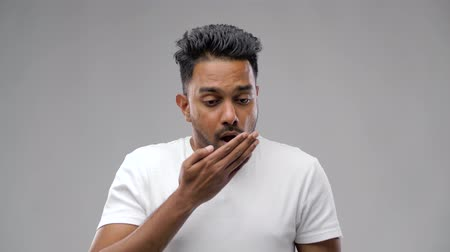 coughing : unhealthy indian man coughing