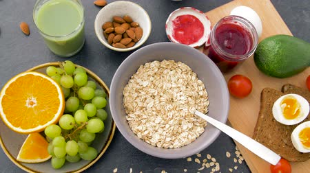 slate : healthy breakfast of oatmeal and other food