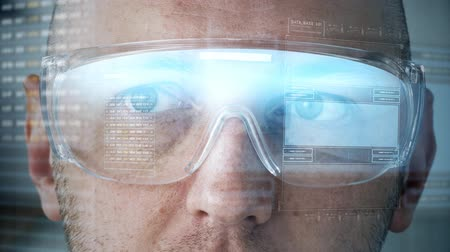 şifreleme : close up of man in smart glasses with coding Stok Video