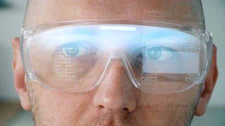 computer programmer : close up of man in smart glasses with coding Stock Footage