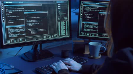 transmitting : hacker creating computer virus for cyber attack Stock Footage
