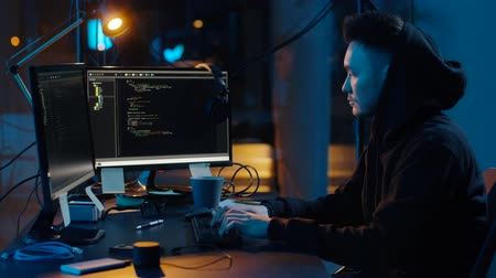хакер : hacker in hoodie using computers for cyber attack